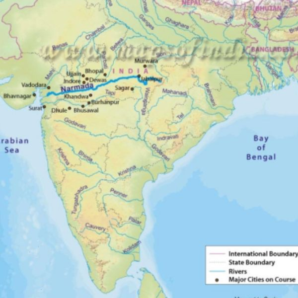 narmada river map